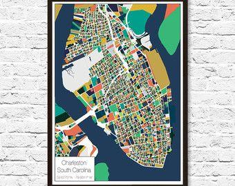 Charleston SC Map Charleston SC Charleston by ParMarMedia on Etsy
