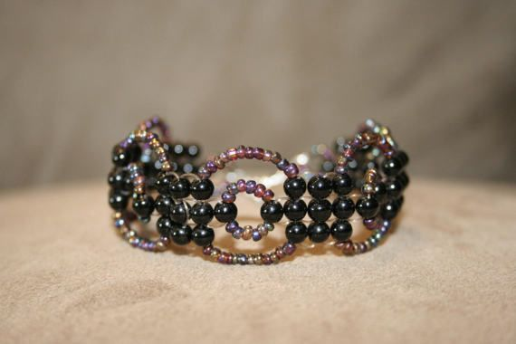 Glassbead black bracelet by MaryLooGifts on Etsy