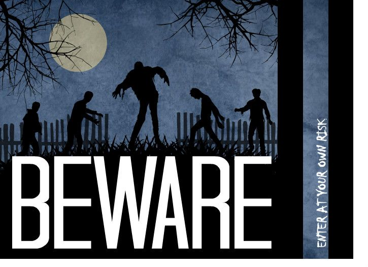 Awesome zombie themed Halloween invitation by PurpleTrail.com. Zombie Halloween Party Guide.
