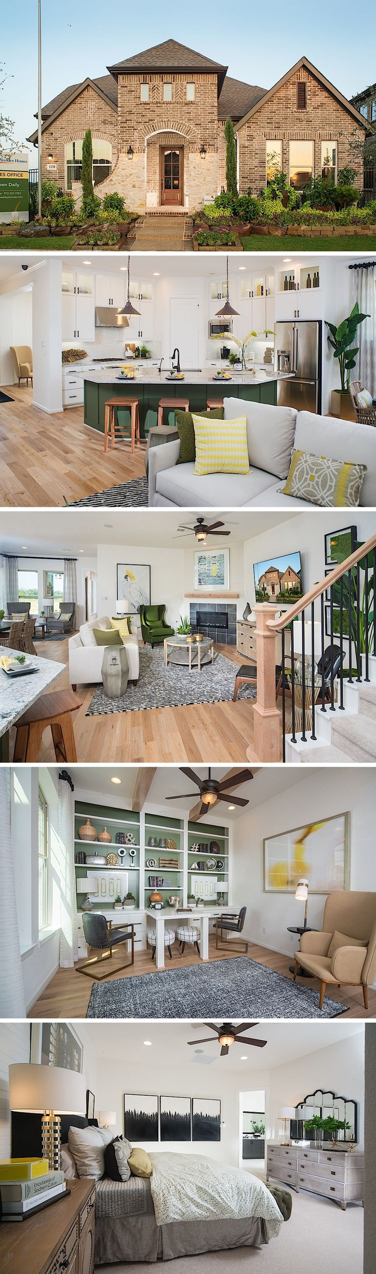 The Kensington in Arlington, TX features vibrant finishes with an earth-tone theme. This classic floor plan can be built with 3 or 4 bedrooms with 2 or 3 baths and uses both brick and stone as the exterior. #davidweekleyhomes #dallas #green #lakefront