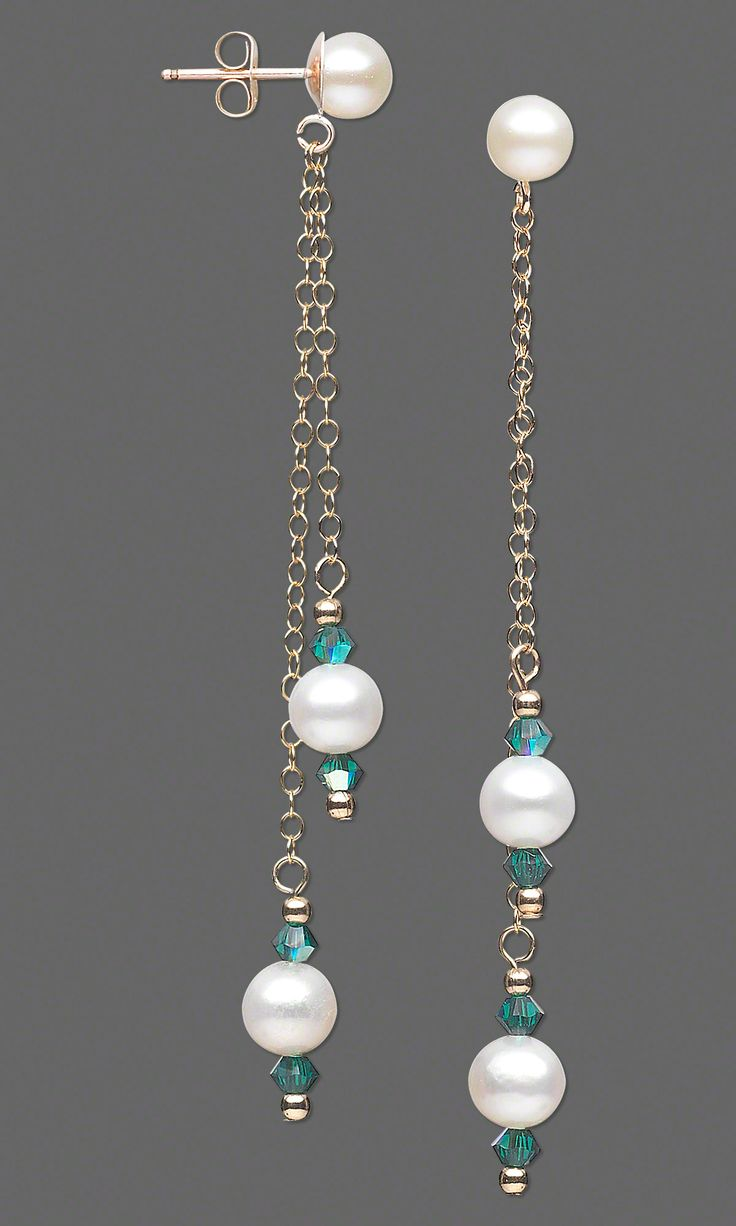 """Clean, sophisticated, elegant … what other words would you use to describe these """"Linear Lovelies""""?   #jewelrymaking #makingjewelry #pearlearrings #pearljewelry #pearls #freshwaterpearls #diyearrings #handmadejewelry"""