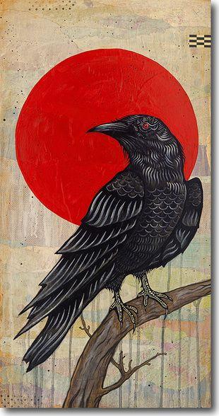 Nevermore, Joel Ganucheau, skyline, art, print, giclee, fine art, bird, crow, raven, poe