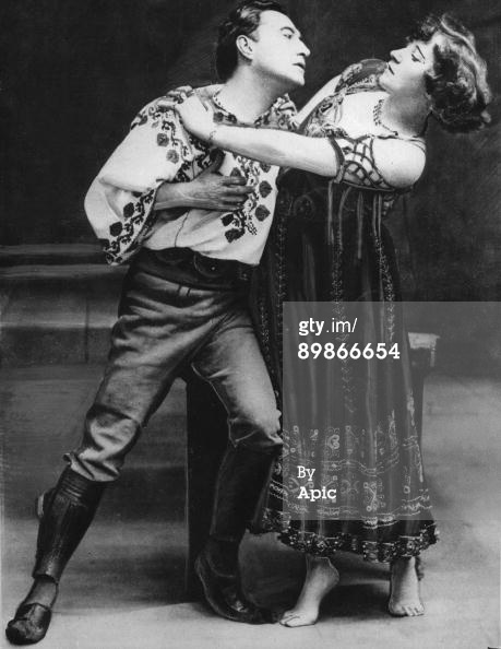 Colette Willy and Georges Wague c. 1907 in play La Chair. Colette's performance made scandal when she accomplished a naked breast in one of the scenes, 1907