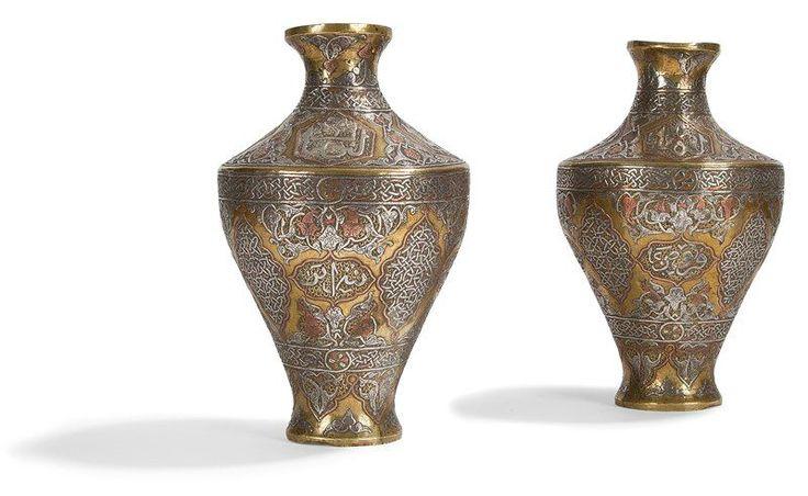Paire de #vases en cuivre et incrustés d''argent, Proche-Orient, vers 1900. Vente aux #encheres du 28/05/14 par Ader