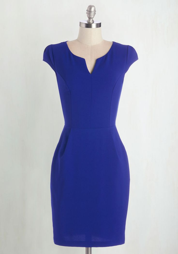 When work takes you to a tropical locale, your first order of business is to don this sleek sheath and match the bold hue of the nearby cove. Lead a beachside brainstorm in this pocketed dress - complete with cap sleeves, a notched neckline, and a professional flair - that complements this scenic paradise!