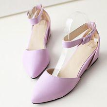 Sandali estate scarpe a punta cinturino della signora ufficio zuppa zeppe femminile solido di colore della caramella scarpe viola FA0D(China (Mainland))