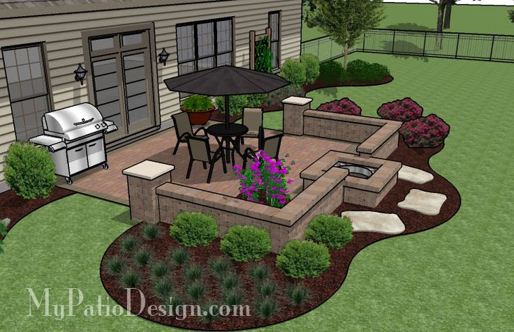 Simple Patio With a Fire Pit | Patio Designs and Ideas