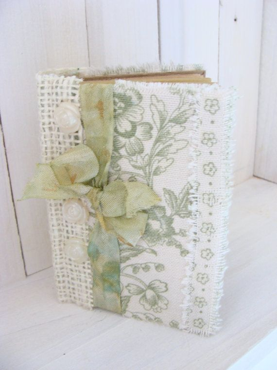 Vintage Inspired Fabric and Burlap Journal Diary by ShabbySoul