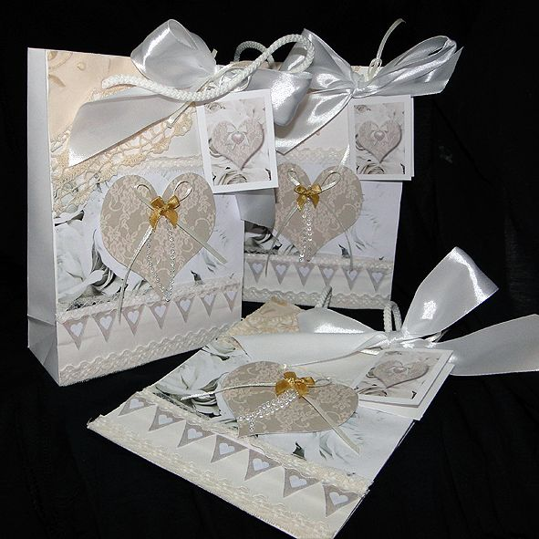 Luxury Romantic Gift Bag - Antique Lace & Heart,