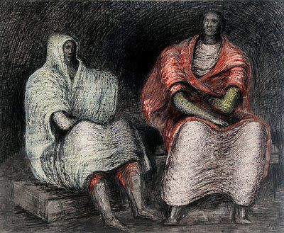 Henry Moore, drawing of Londoners sheltering from the blitz in the Tube.