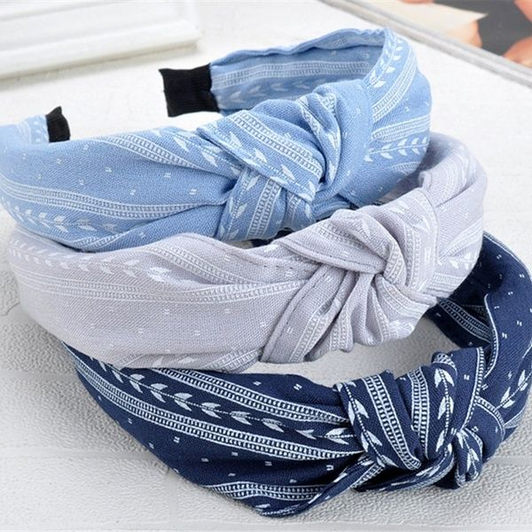 Woman Fabric Headband Hairband Bow Knot Turban Wide Tie Hair Hoop Accessories