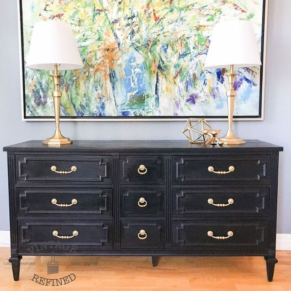 chic black painted dresser, painted furniture
