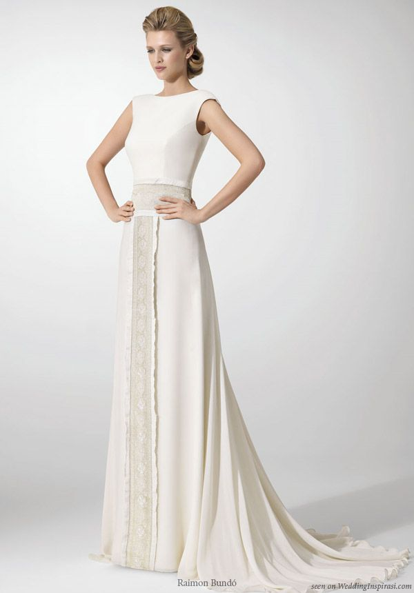 """clean """"less is more"""" understated styles and accents. Raimon Bundo structured wedding dress with lace panel sash"""
