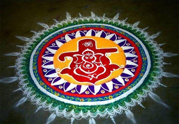 Ganapati Rangoli Designs For Diwali