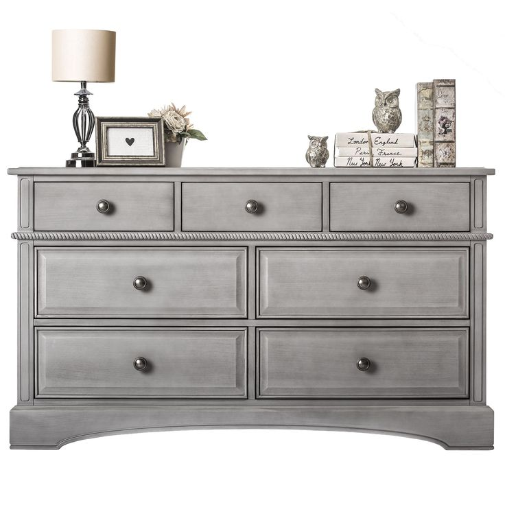Evolur Double Drawers Dresser (Storm Grey), Size 7-drawer