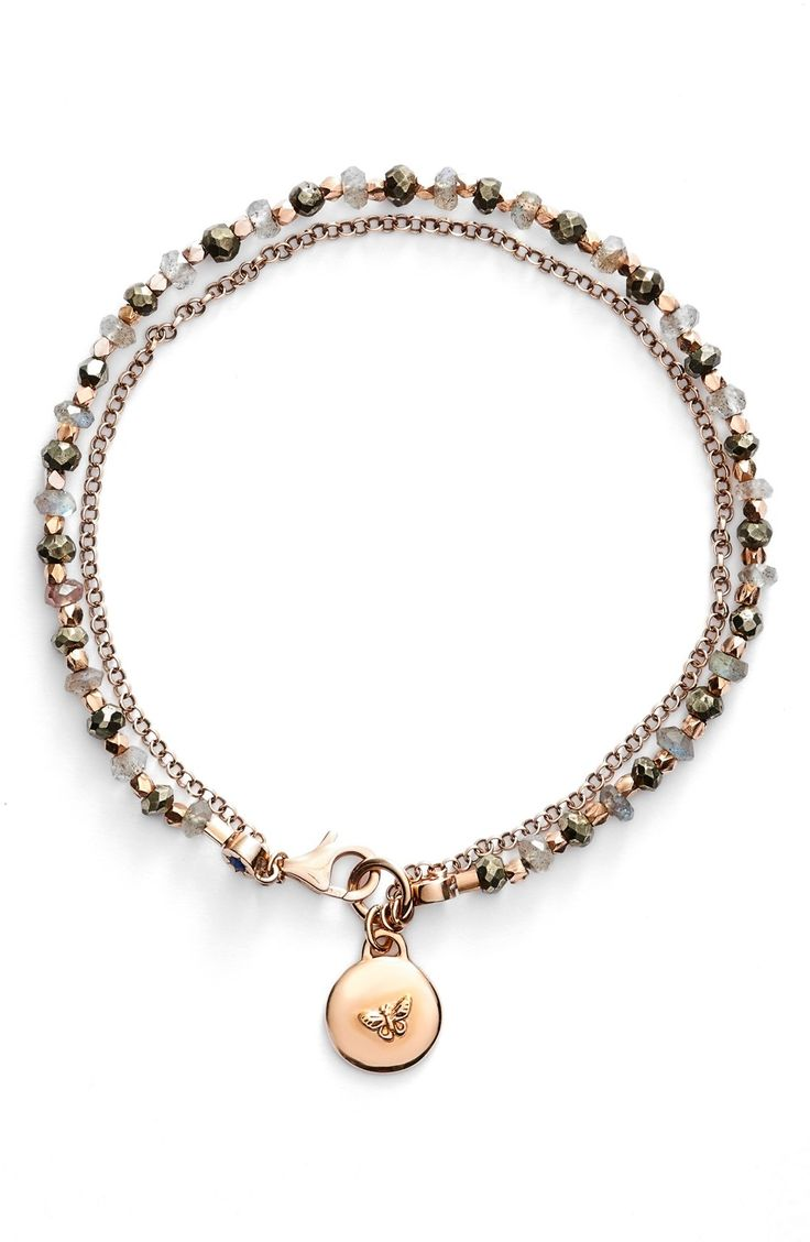 This beaded and rose gold charm bracelet is perfect for layering with other colors and meanings from Astley Clarke's line to create a truly unique, personal story.