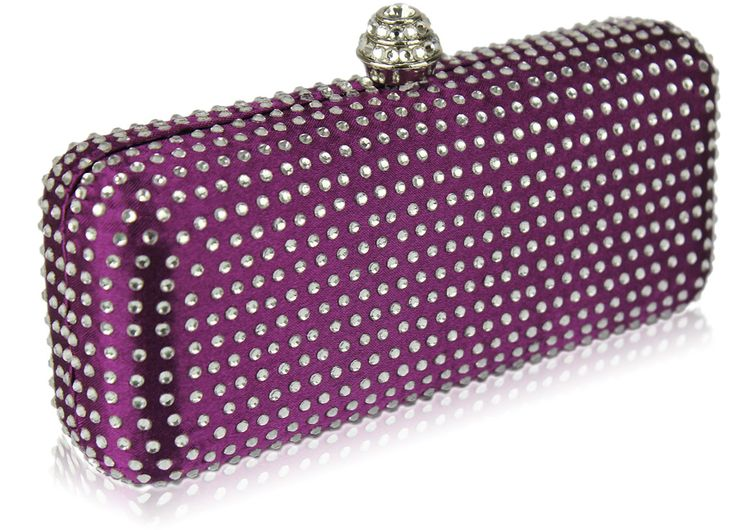 Purple Diamante Hard Case Evening Clutch Bag