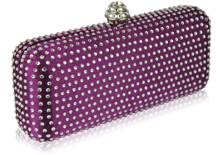 Purple Diamante Hard Case Evening Clutch Bag