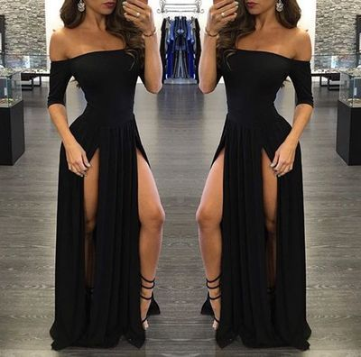 New Arrival Prom Dress,Sexy Prom Dress,Prom Dress,Sexy black long prom dress with slit,formal dresses