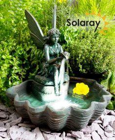 Beleuchteter Solarbrunnen - Elfe auf einer Muschel