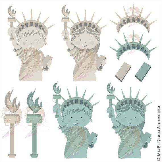 INSTANT DOWNLOAD 10 pieces of clip art which includes 4 cute boy and girl Statue Of Liberty clip art designs with 6 design elements! Excellent for ...  DIY Invitation cards, Teacher Use Scrapbook etc. Banners, tags, cupcake toppers. _________________________________________ For this INSTANT DOWNLOAD product, you will receive the following: Size of each clip art: vertical or horizontal 6 INDIVIDUAL files in 3 file formats: Vector Eps (line artwork scalable - enlarge or reduce without losing…
