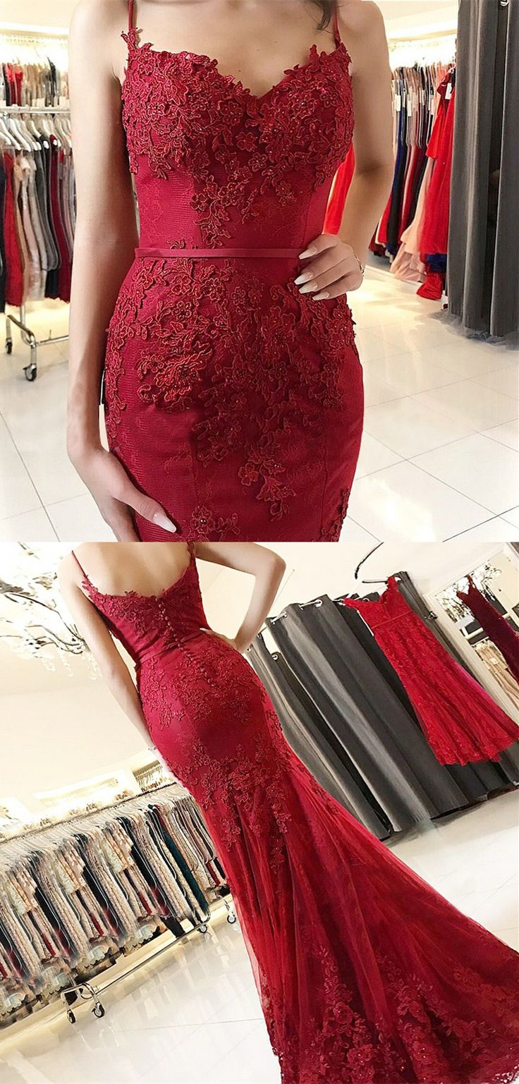 modest burgundy mermaid prom dresses with appliques, unique spaghetti straps sweep train evening gowns, gorgeous trumpet party dresses #burgundydress #promdress #mermaiddress