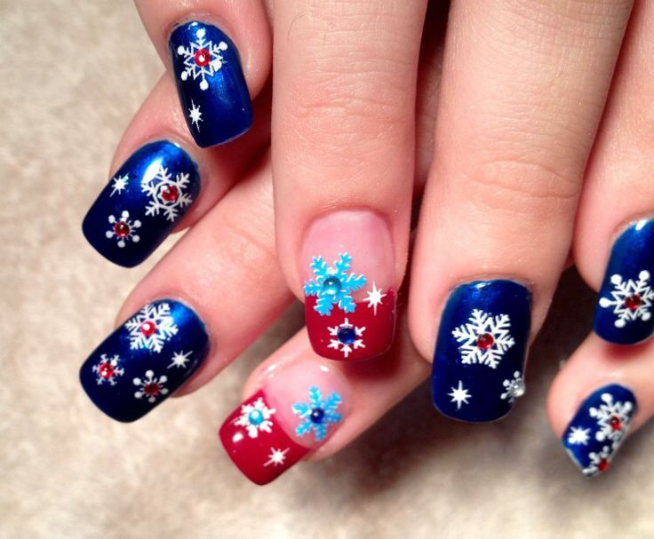 Blue and red Christmas nails.