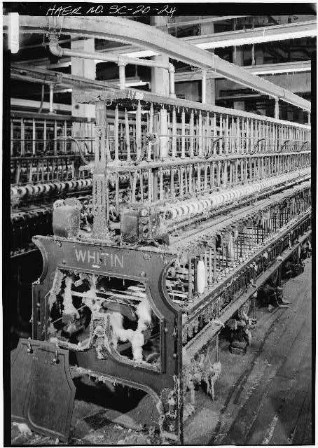 24.  THIRD FLOOR, WHITIN SPINNING FRAMES, 1902, DETAIL - Bamberg Cotton Mill, Main Street, Bamberg, Bamberg County, SC