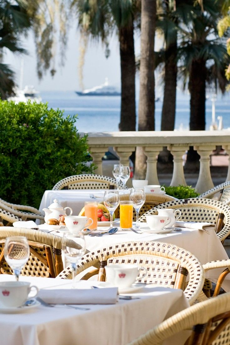 The upscale Carlton restaurant offers alfresco dining on its breezy terrace. InterContinental Carlton Cannes (Cannes, France) - Jetsetter