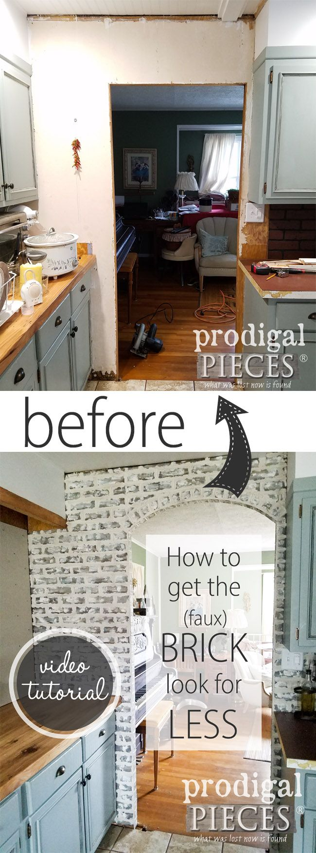 WOWZA!! Can you believe that is fake brick? Come see the DIY Faux Brick Tutorial with video of how to get this done in a day. So easy!! By Larissa of Prodigal Pieces | prodigalpieces.com #prodigalpieces #homeimprovement #homedecor
