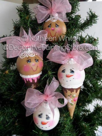 Ice Cream Cone Ornies Pattern - Kathleen Whiton - PDF DOWNLOAD #snowmanicecreamcone #gingericecreamcone #paintingpattern #epattern