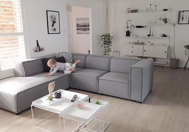 @littledwellings' new Carmo sofa in light grey lux felt  #boconcept…