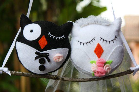 Just married felt owls wall decoration. by Lanatema su Etsy