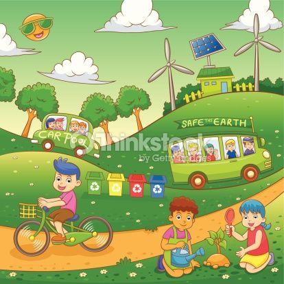 Vector Art : children Save our green world.