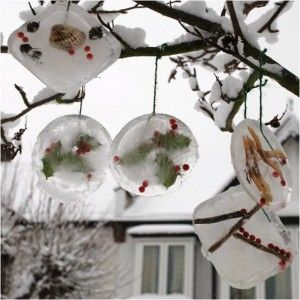 These ice ornaments would be so sweet hanging in trees surrounded by christmas tree lights for a winter party outdoors around a fire.