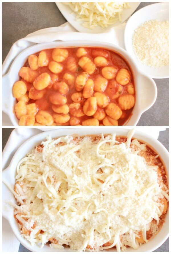 Baked Gnocchi Double Cheese Tomato Sauce a fast and easy pasta recipe, baked in a simple tomato sauce topped with mozzarella & Parmesan.