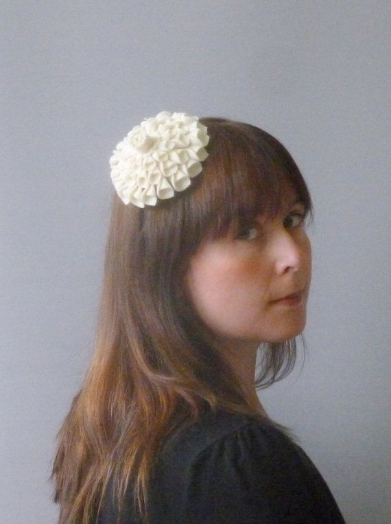 Ivory Fascinator Hair Accessory with felt flower by SophieShields