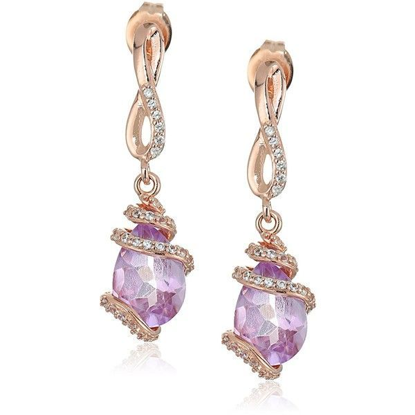 Rose Gold Plated Sterling Silver Pear Shaped Pink Amethyst 10x7x5.5mm... ($40) ❤ liked on Polyvore featuring jewelry, earrings, amethyst drop earrings, white sapphire earrings, sterling silver jewelry, dangle earrings and drop dangle earrings #Drop&DangleEarrings