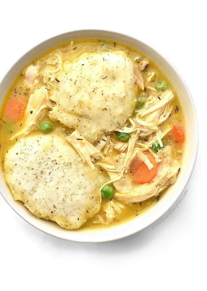 Chicken and Dumplings is the perfect comfort food. This delicious and easy version is made with roasted chicken and topped with tasty dill dumplings.