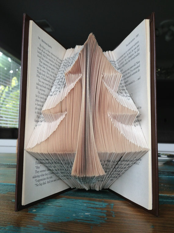 The Pine Tree - Reader's Digest Condensed Books - Folded Book Art - Recycled, Repurposed, Reclaimed. $52.00, via Etsy.
