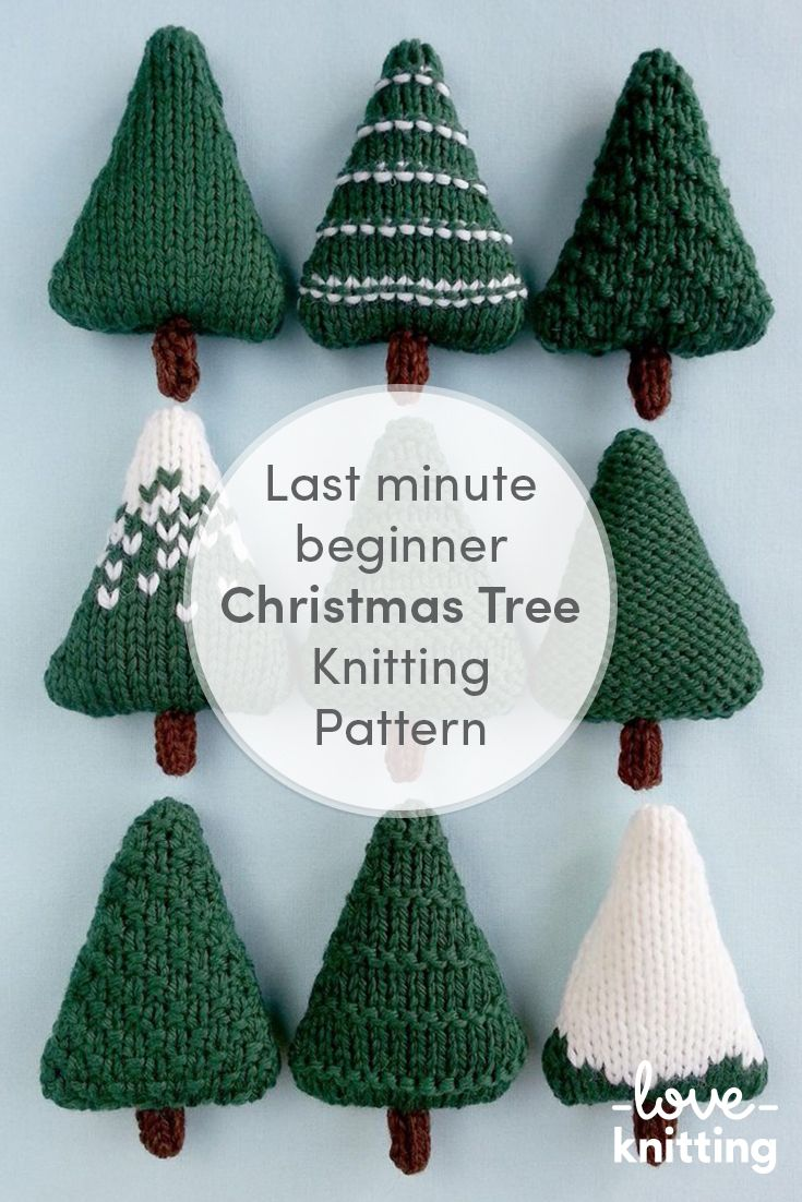 Christmas Trees 1 Knitting Pattern By Squibblybups Knitted Christmas Decorations Christmas Yarn Christmas Knitting Patterns