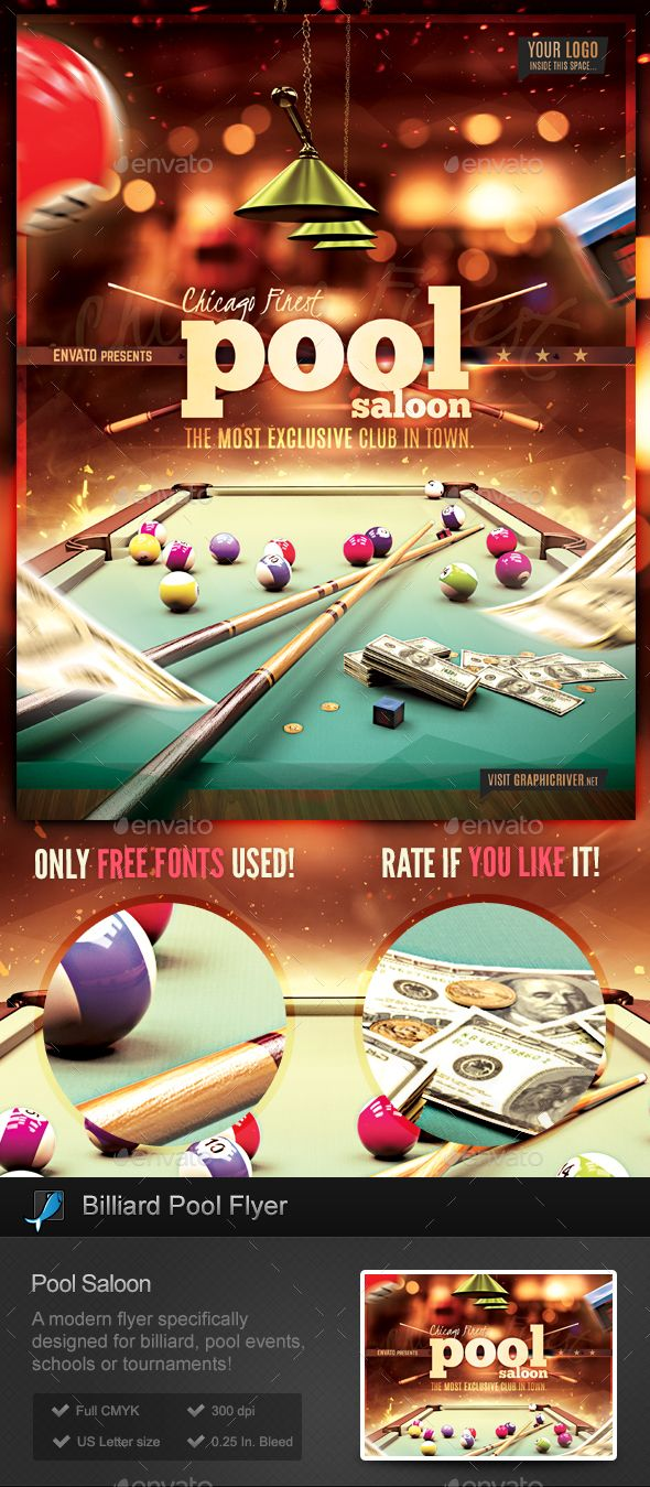 Pool Billiard Club Flyer Template by StormDesigns This is a flyer template specifically designed for Pool Billiard events (pool table, 8 ball, billiards and so on), tournaments, do