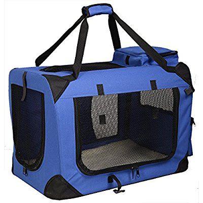 Hundetransportbox faltbar Hundebox Transportbox Autobox Transporthütte Transporttasche Polyester (Blau, L)