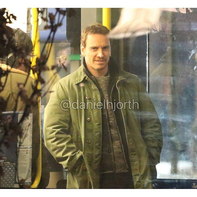 """Michael Fassbender filming """"The Snowman"""" in Oslo today! [star] -"""