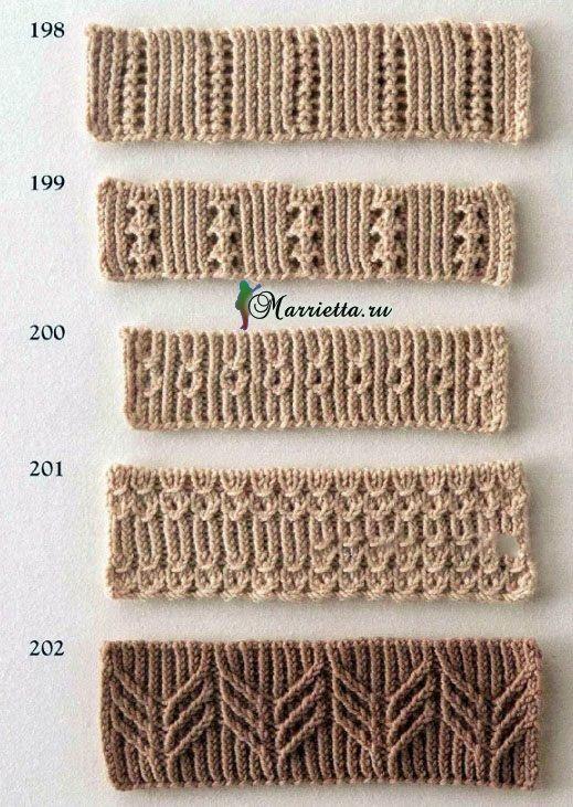 Фигурная резинка спицами. Схемы вязания (3)