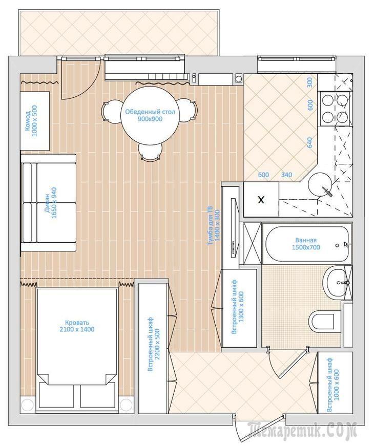 Компактный интерьер квартиры-студии 33 кв. метра