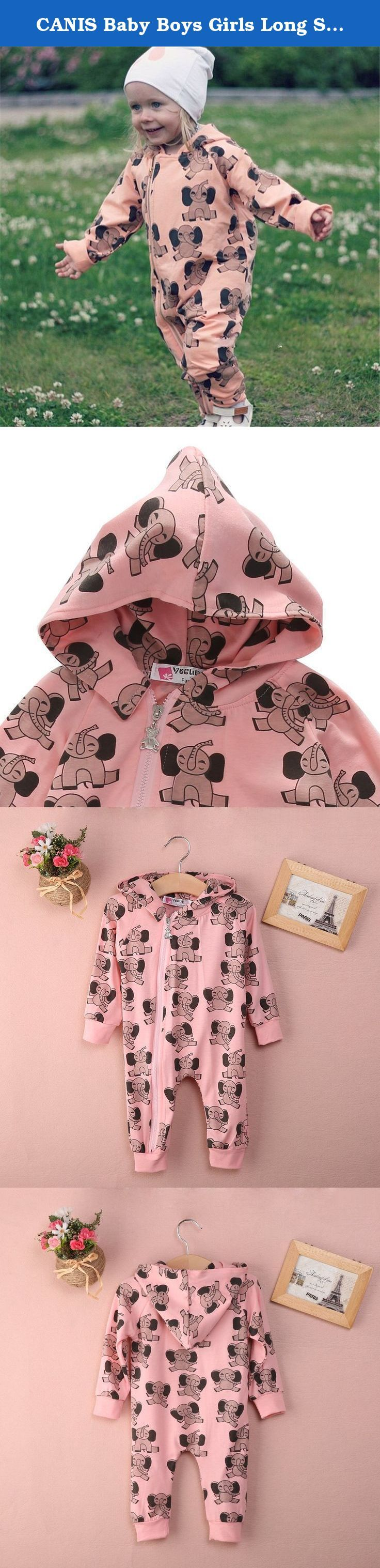 """CANIS Baby Boys Girls Long Sleeve Elephant Print Zipper Hoodie Romper. It is very comfortable to wear. Best jumpsuit for baby winter daily wearing. High quality and Durable. Size information: 70:Total Length 50cm/19.6"""",Chest 27*2cm/21.2"""",Sleeve 30cm/11.8"""",For age 0-6M 80:Total Length 53cm/20.8"""",Chest 28*2cm/22.0"""",Sleeve 32.5cm/12.7"""",For age 6-12M 90:Total Length 56cm/22.0"""",Chest 29*2cm/22.8"""",Sleeve 35cm/13.7"""",For age 12-18M 100:Total Length 59cm/23.2"""",Chest 30*2cm/23.6"""",Sleeve..."""