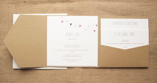 Kraft pocketfold wedding invite with bunting design