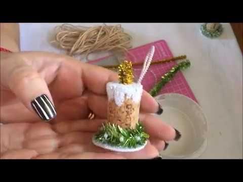 Decoracion de velitas para el arbol de navidad con corcho.