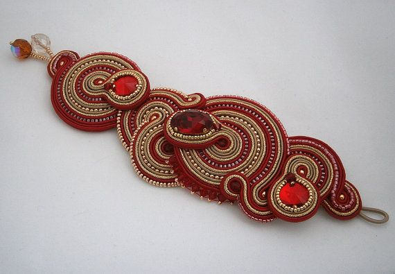 Red and gold soutache bracelet with Swarovski crystals